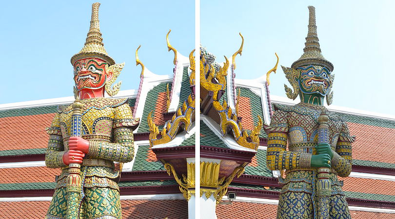 thailand bangkok wat po detailed men