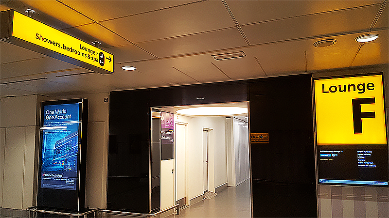 No 1 Lounge London Heathrow Review - Travel with Mia - Lounge F Sign
